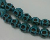 Halloween skull beads  HOWLITE TURQUOISE jewelry supplies Pink Flamingo 8x10 mm 20 beads (BB18)
