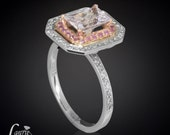 Radiant Cut White Sapphire Ring with Pink Sapphire and Diamond Double Halo - LS1181