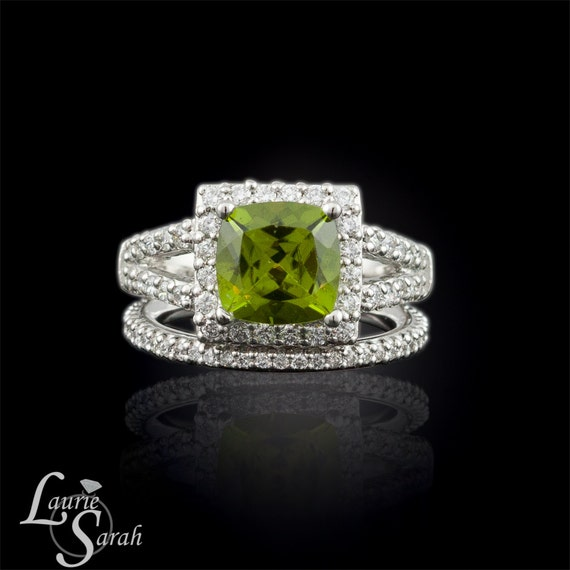 Engagement Ring, Peridot and Diamond Engagement Ring with Diamond Halo, Split Shank, and Wedding Ring - LS294
