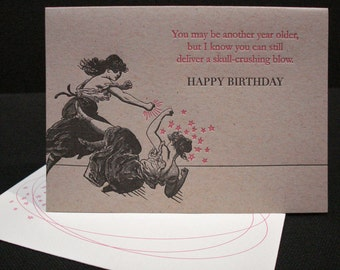 Girl Fight - letterpress birthday greeting