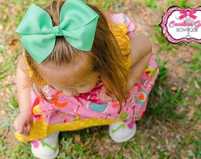 6 in. Mint Hair Bow - XL Hair Bow - Big Hair Bows - Girl Hair Bows