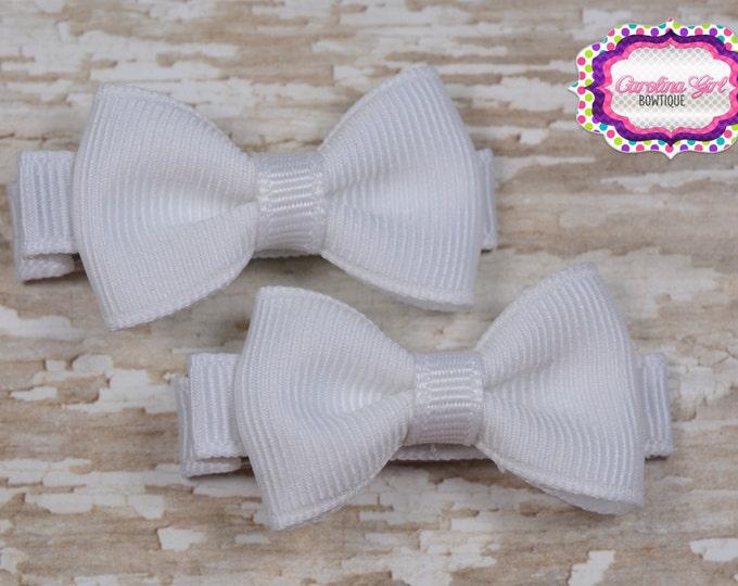 White Hair Bow Set of 2 Small Hairbows - Girls Hair Bows - Clippies - Baby Hair Bows
