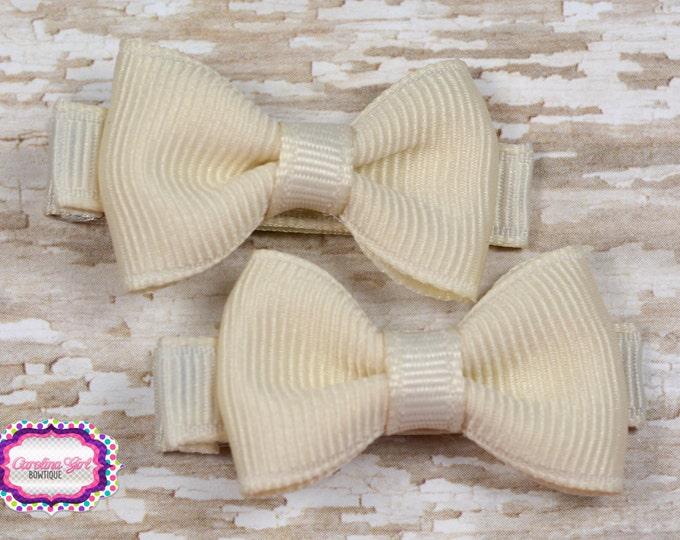 Ivory Hair Bow Set of 2 Small Hairbows - Girls Hair Bows - Clippies - Baby Hair Bows