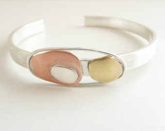 Mid Century Modern, Cuff Bracelet Sterling Silver, Copper and Brass