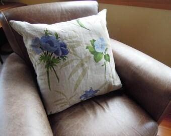 Bel Cuscino - Italian Floral Print Pillow, Bedding, Linen, 24x24, Cushion Cover, Blue, Green