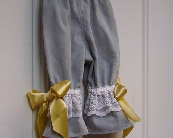 Girls Gray Lace Ruffle Pants with Bows 2T Sample Sale or CHOOSE SIZE White Rabbit Pants for Girls  Wonderland Party Costume