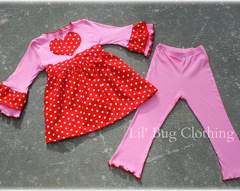 Valentines Polka Dot Pink Knit Heart Dress and Leggings  Custom Boutique Clothing Girl 3m 6m 9m 12 18 24 2t 3t 4t 5t 6t 7