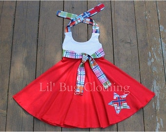 4th Of July Girls Dress, 4th Of July Girls Outfit, 4th Of July Girls Plaid Knit Dress, 4th Of July Pageant Wear Dress, 4th Of July Party