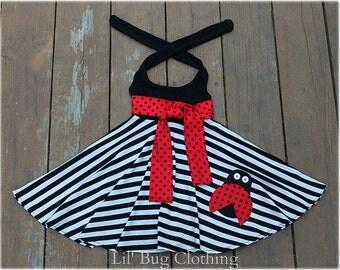 Ladybug Bug Girls Stripe Knit Dress, Black White Ladybug Dress, Ladybug Birthday Girl Halter Dress, Custom Boutique Ladybug Dress,