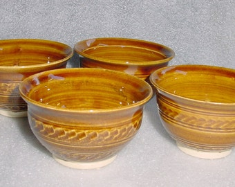 Set of 4 Amber Pottery Prep Bowls - Wheel Thrown with Decorative Chattering