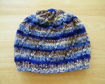 Handknit Beanie Swirl Hat Striped Navy/Blue/Cream