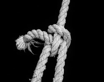 Sailing Knot -- Black and White Photograph