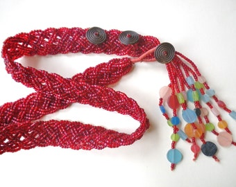 Beaded Belt Vintage 80s Red Glass Beads Size S- M-L Women