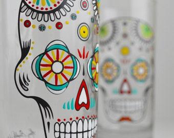 Sugar Skull - Hand Painted Halloween Glasses - Día de Muertos - Day of the Dead Glasses