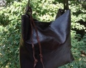Dark chocolate brown leather purse handbag shoulder bag tote cowhide one pocket Made in USA
