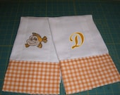 BABY BURB CLOTH Set - Gender Neutral in Orange Plaid - Fish and Monogrammed