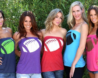 Football  FD Feel Naked Tshirt Tube Tops- 13 tube top colors and 14 ink colors.