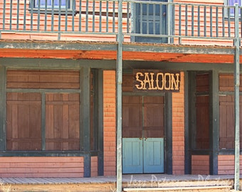 Old Saloon photos Old West Photography Paramount Ranch CA Rustic Art Dark Brown Teal Rust Beige Home or Office Cowboy Wall Art 8x12 Fine Art