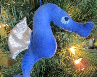 Seahorse Softie Ornament (blue/silver)