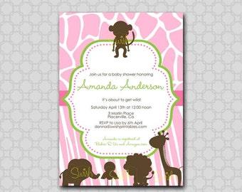 Pink Safari Baby Shower Invitation  - Printable Invite - Pink Jungle Animal Silhouette