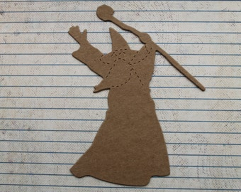 2 kraft brown bare chipboard Wizard shaped Diecuts 4 3/4 inches tall