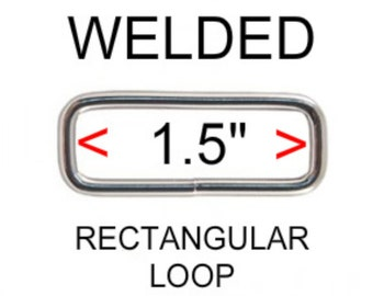 """20 PIECES - 1 1/2"""" - WELDED Rectangular Loop Rings, 1 1/2 inch, NICKEL Plate Finish, 1.5 Metal"""