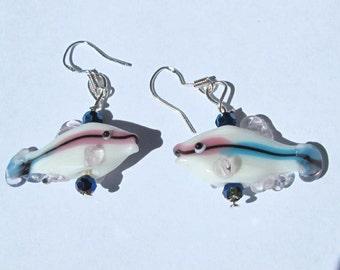 White Fish Earrings Lampwork Glass