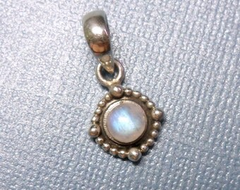Small Beeded Halo Round Blue Moonstone Sterling Silver Pendant