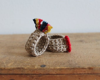 Duo, 2 rings , 2 fingers...rainbow, Bijoux tricot, crochet, cotton, beige, red,yellow,blue, orange, folklore