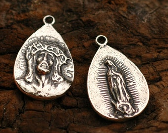 Passion of Christ Teardrop and Guadalupe Charm in Sterling Silver -66
