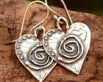 Sterling Silver Sacred Spiral Heart Earrings