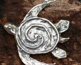 Rustic Sea Turtle Pendant in Sterling Silver
