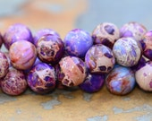 Shop Sale..6 Aqua Terra Jasper Light Purple 10mm Rounds Beads