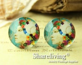 4pcs  25mm Handmade Photo Glass Cabs Cabochons -- BCH657T