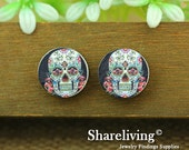 Buy 1 Get 1 Free - Skull Wood Cabochon, Wooden Button,12mm 15mm 20mm  Round Handmade Photo Wood Cut Cabochon   -- HWC012R