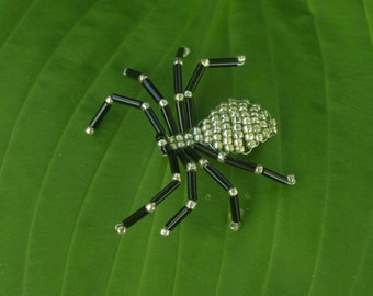 Silver and Black Beaded Spider
