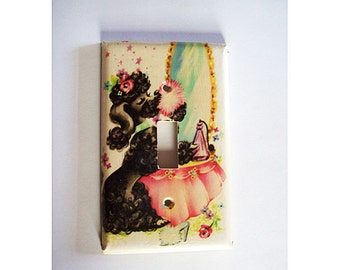 retro poodle switch plate vintage 1950s rockabilly pin up decor light switch kitsch