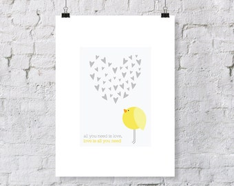 """The Beatles Inspired """"All You Need is Love""""  - nursery art print with yellow bird"""