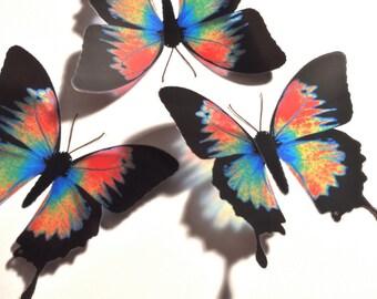 10 x 3D Butterflies - LORIKEET ULYSSES  Mixed Colours - Girls Bedroom, Nursery, Baby, Gift, Craft, Wall Decor, Art, Mirror, Window, Kitchen