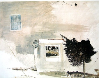 1976 Andrew Wyeth Print - Untitled- 10 x 13 Vintage Book Page