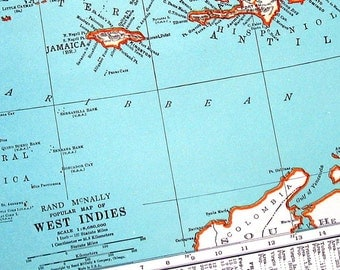 Map of West Indies and Map of Cuba - 1936 Vintage Map from World Atlas - 14 x 11 - 2 Sided