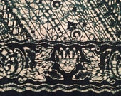 100% Keris Batik Wax Processing Generous 8x8 Squares - Eight Count of Dark Green Negative Slope Print
