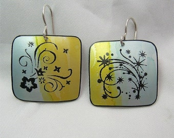 Handpainted Earrings -  Floral print  - Lightweight - Sterling Silver Earwires