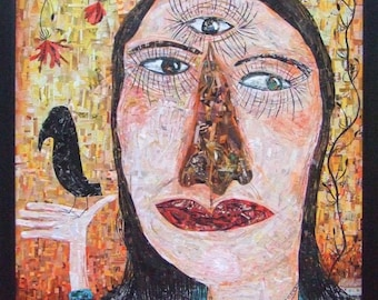 Large Collage Painting of Girl w Third Eye and Crow - Original Outsider Folk Art