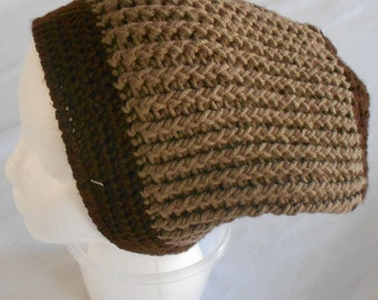 Adult Brown Crocheted Slouch Hat Brown Slouch Beanie Hat for Man or Woman in Brown