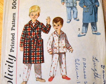 Vintage Sewing Pattern Simplicity 4250 Toddlers' Pajamas Robe Size 1   Complete