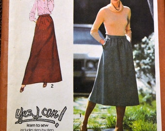 Vintage 70s Sewing Pattern Simplicity 8744 Misses Skirt  Waist 26 Inches  Complete Learn to Sew