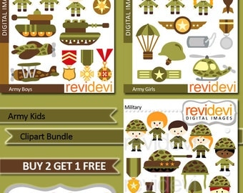 Instant Download Clipart Bundle.. Army Kids MGB014