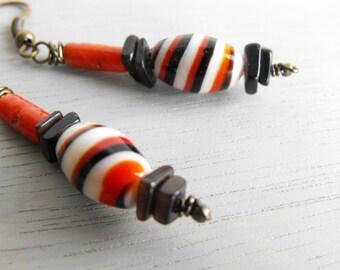 Boho Earrings // Tribal Earrings // Vintage Bead Dangle Earrings // Modern Bohemian Jewelry Handmade by Luluanne