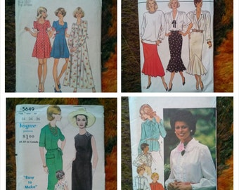 Lot of 4 Vintage Misses Sewing Patterns (various sizes)